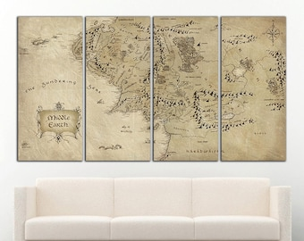 LOTR wall decor Middle Earth canvas Middle Earth print LOTR print Tolkien Map Canvas Middle Earth art LOTR wall art Tolkien Map wall art