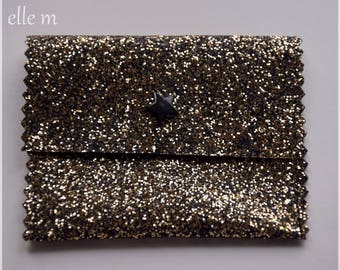 Dress handkerchief with jewels, black and gold sequin fabric