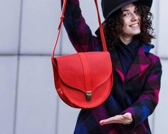 RED LEATHER BAG, Leather shoulder bag, Leather crossbody bag women, Leather vintage bag women, Red bag on shoulder, Womens crossbody bag