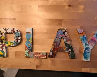 Custom made PLAY letters