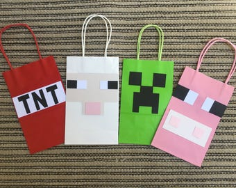 mine party,video game birthday,video game favor bag,pixel party bags,pixel party favor,boy birthday,video game party bags