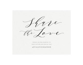 Melia: 5x7 AND 8x10 Social Media Wedding Sign in Black, Share the Love Wedding Sign, Simply Editable PDF Template, Instant Download