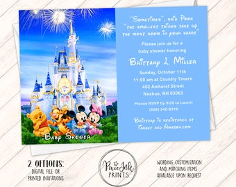Neutral Baby Shower Invitation, Castle Baby Shower Invitation, Baby Mickey  Invitation, Baby Disney
