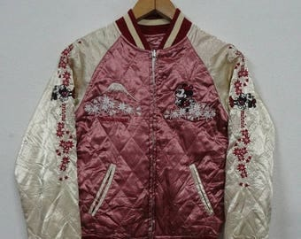 Christmas Sale 25% Sukajan Jacket Vintage Sukajan Japan Minnie Mouse Embroidery Souvenirs Reversible Jacket Rare M Size