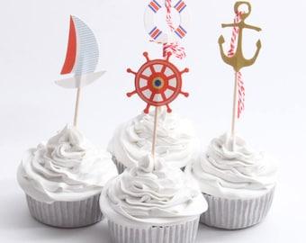 24pcs Anchor Cupcake topper