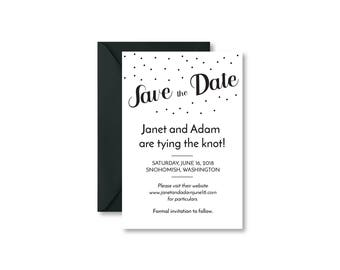Personalized  Black and White Save the Date Wedding Announcement Card and Envelope