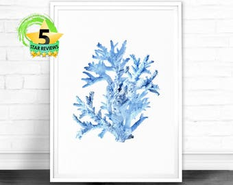 Navy Blue Coral Print Seaweed Illustration Coastal Decor Beach Nautical Printable Digital Download Sea Pulp Ocean Plant Life Coral Seaweed