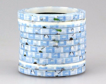 Adhesive tape 4 mm 1 piece/washi tape 10 m blue with decorations