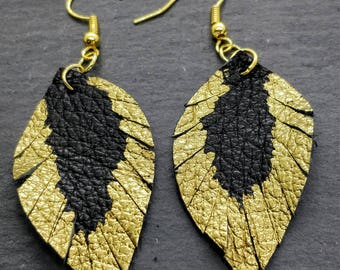 Upcycled black leather leaf shape with feathering earring with gold embellishment