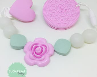 Pink Oreo cookie teether - heart clip- chew toy - Bpa Free - teether - baby/toddler - safety breakers - toy - baby shower - stocking