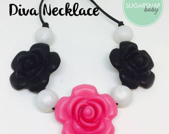 Chew Necklace Silicone Teething Beads Baby Chew Jewlery Baby Gift - Baby Shower - lil diva necklace