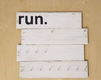 Running Medal and Bib Holder Display / Rustic Wood
