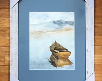 Original watercolor boat, boat on a lake, original art, watercolor landscape, framed painting, lake landscape, watercolor boat