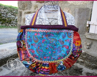 Bohemian turquoise patch bag