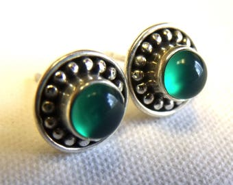 All Natural • solid sterling SILVER • Green Onyx • Stud Earrings