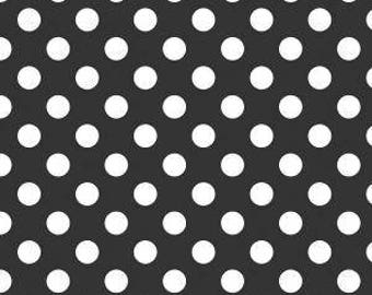 Black Polka Dot Fabric - Riley Blake Medium Dot - Black and White Dot Fabric
