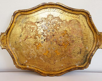 Large gold antique vintage wooden tray