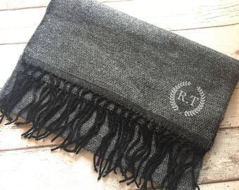 Personalised scarf for men | gift for him | christmas gift | grey scarf