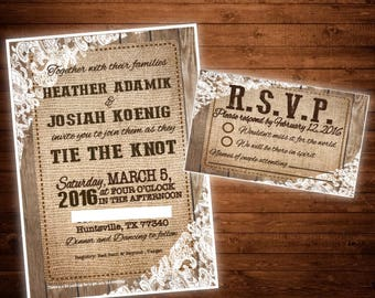 Burlap, Wood, & Lace Wedding Invite and RSVP Card