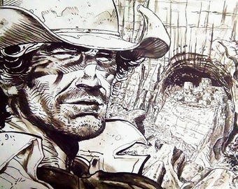 """Portrait of Lt. blueberry little tribute to Jean Giraud """"Moebius"""""""