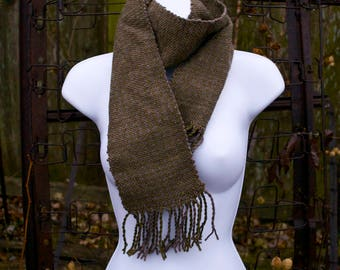Mossy Earth - Handwoven Wool Scarf - One of a kind Woven Houndstooth neautral colors- Handmade in USA
