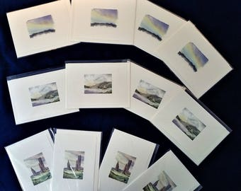 12 Greetings Cards,  Scottish Landscapes, Scotland, original artwork, Trudi Breen