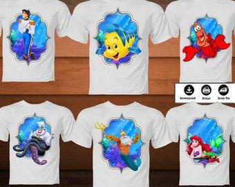 SET Little Mermaid Iron on Transfer Shirt-Printable Disney Princess Mermaid Image-Mermaid Family party decoration image-DIGITAL DOWNLOAD