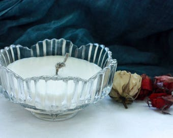 Eco soy wax candle in vintage crystal pot- CLOVE aroma