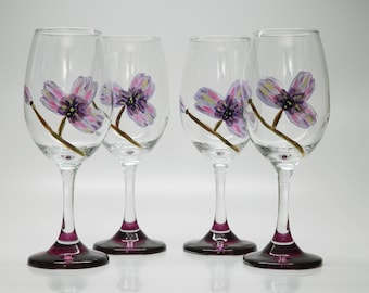 Wine Glasses 10 oz (4 piece set) // Hand Painted Purple and Pink Floral Design, Purple Stemmed Glasses