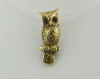 14k Yellow Gold Owl With Ruby Eyes Pendant(01271)