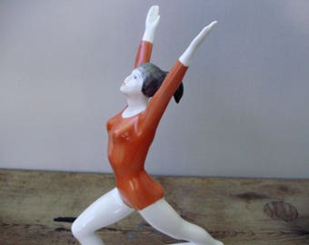 Large,Vintage  Hungarian,Hollohaza  porcelain figurine,ballerina,gymnast girl, stamped,hand painted