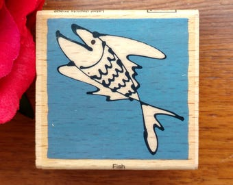 Fish Rubber Stamper by Vap! Scrap, Artsy Fish, Smiling Fish, Happy Fish