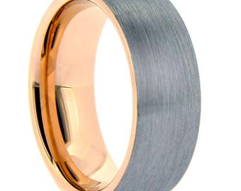 Tungsten Carbide Brushed Finish Rose Gold inlay wedding band ,Comfort fit