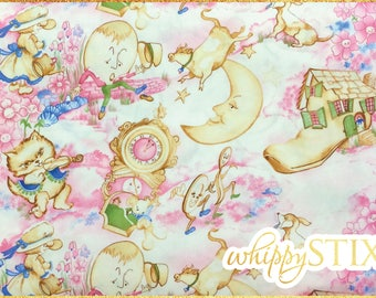 Nursery Rhymes Fabric By the Yard, Westrade Collection K6144A, BTY Pink Nursery Rhyme Cotton Quilting Fabric, Mother Goose Childrens Stories