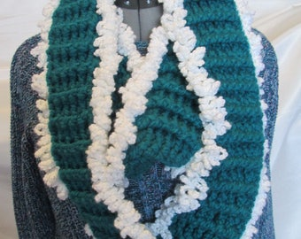 Infinity Scarf! Teal trimmed in white. Crocheted. Acrylic yarn. Handmade. 90 inches long. 5 inches wide. Beautiful, stylish and warm!