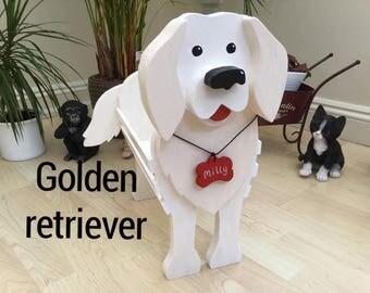 GOLDEN RETRIEVER, wooden,garden,planter,ornament,decoration,name tag,custom made,