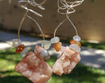 Druzy and agate Wire wrapped earrings