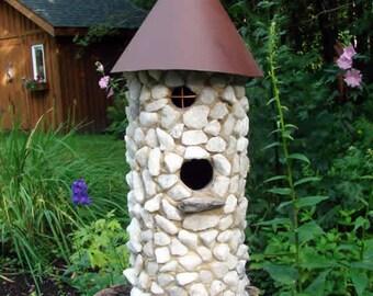White Stone Birdhouse, Outdoor Birdhouse, Stone Birdhouse, Unique Birdhouse, Bird House