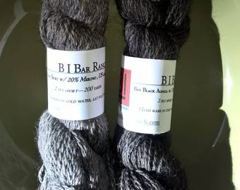 Dark Gray or Black/gray blend of Suri alpaca w/20% Merino wool, sport weight yarn