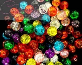 cracked glass multicolored 6 mm 50 beads