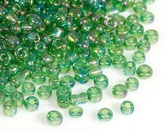 Green seed beads - 2 mm - 15 g