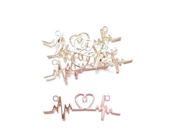 5 electrocardiogram heart silver plated jewelry connectors