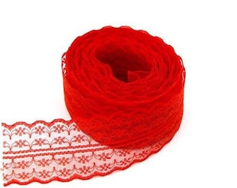 1 45 mm red embroidered tulle lace trim Ribbon
