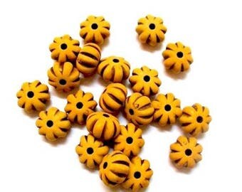 20 smoke yellow pumpkin shape acrylic beads