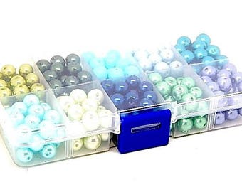 Box of 230 Pearly beads 8 mm 10 different colors