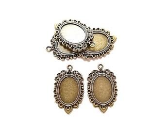 10 pendants oval (suitable for Cabochon 25 mm x 18mm) Antique Bronze