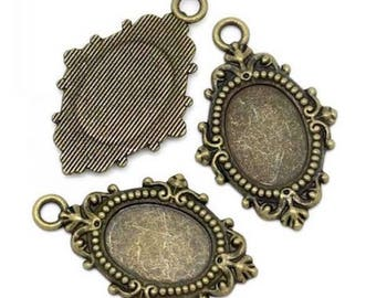 2 pendants Support bronze oval cameo