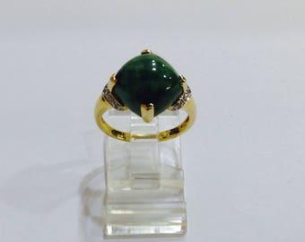 Natural jade,diamonds 14k gold,statement ring,size8