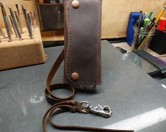 Mens long wallet,mens wallet,kodiak leather, roper wallet, bikerwallet, western ware ,oiled leather