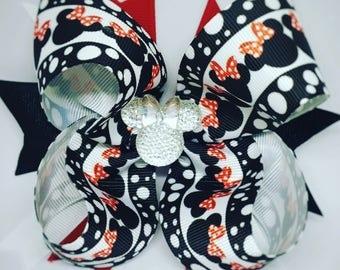 minnie bow, minnie mouse hair bow, disney bow, disney birthday, minnie birthday, minnie birthday bow, disney trip, big bow, bows for girls